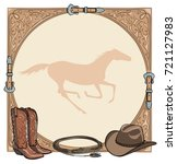 cowboy horse equine riding tack ... | Shutterstock .eps vector #721127983