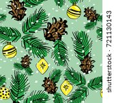 christmas pattern twigs and... | Shutterstock .eps vector #721130143