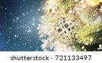 christmas ornament on wooden... | Shutterstock . vector #721133497