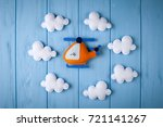 orange craft helicopter and... | Shutterstock . vector #721141267
