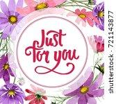 wildflower kosmeya flower frame ... | Shutterstock . vector #721143877