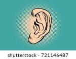 male human ear. pop art retro... | Shutterstock .eps vector #721146487