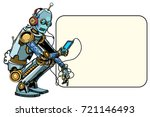 robot sits with the phone.... | Shutterstock .eps vector #721146493