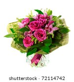 bouquet of lilias and roses... | Shutterstock . vector #72114742