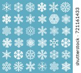 flat design line snowflakes...   Shutterstock .eps vector #721161433