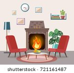 cozy living room interior with... | Shutterstock .eps vector #721161487