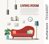 living room interior with... | Shutterstock .eps vector #721162027