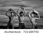 men or bodybuilders  handsome ... | Shutterstock . vector #721184743