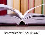 open book  hardback books on... | Shutterstock . vector #721185373