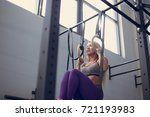 beautiful fitness woman fitness ... | Shutterstock . vector #721193983