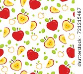 seamless pattern with whole and ... | Shutterstock . vector #721215487