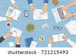 business team working at desk... | Shutterstock . vector #721215493