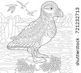 coloring page of puffin ...   Shutterstock .eps vector #721232713