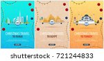 set of christmas travel posters ... | Shutterstock .eps vector #721244833