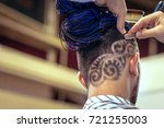 haircut with a razor. red hair... | Shutterstock . vector #721255003