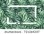 beautiful tropical leaves with  ... | Shutterstock . vector #721264237