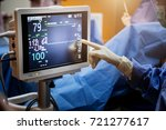 assistance female doctor point... | Shutterstock . vector #721277617