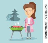 young caucasian woman standing... | Shutterstock .eps vector #721283293