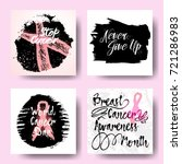 set of pink ribbons symbols and ... | Shutterstock .eps vector #721286983