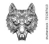 angry wolf head. wolf blackwork ...   Shutterstock .eps vector #721287613