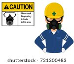 worker wit h respiration mask... | Shutterstock .eps vector #721300483