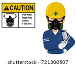 painter with respiration mask... | Shutterstock .eps vector #721300507