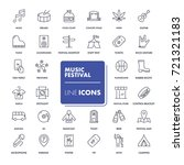 line icons set. music festival...