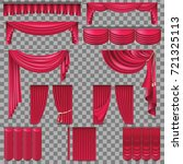 luxury set of red velvet silk... | Shutterstock .eps vector #721325113