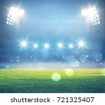 stadium in lights and flashes... | Shutterstock . vector #721325407