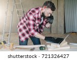 hipster bearded man is... | Shutterstock . vector #721326427