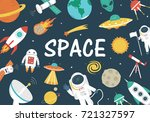 space objects background | Shutterstock .eps vector #721327597
