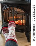 fireplace cozy winter woman... | Shutterstock . vector #721331293