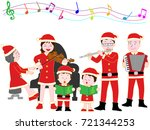 christmas concert with family. | Shutterstock .eps vector #721344253