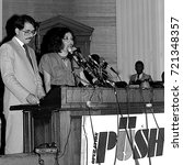 Small photo of Chicago Illinois, USA, 2nd August, 1986 Nicaraguan President Daniel Ortega speaks to the crowd gathered at Operation Push. His wife Rosario Murillo who is a polyglot translates for him.