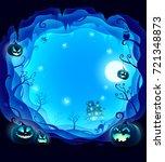 halloween layered border for... | Shutterstock .eps vector #721348873