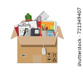 moving to new office. cardboard ... | Shutterstock .eps vector #721349407