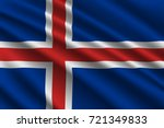 waving flag of iceland on silk... | Shutterstock .eps vector #721349833