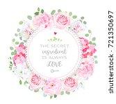 blooming peony  pink hydrangea  ... | Shutterstock .eps vector #721350697
