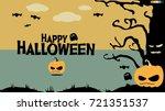 happy halloween in cute vintage ... | Shutterstock .eps vector #721351537