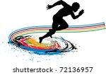 splash runner silhouette - stock vector