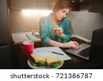 busy woman eating  drinking... | Shutterstock . vector #721386787
