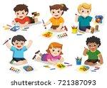 back to school  happy children... | Shutterstock .eps vector #721387093