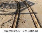 footprints in the sand | Shutterstock . vector #721388653