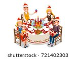 christmas dinner party... | Shutterstock .eps vector #721402303