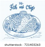 traditional english dish fish... | Shutterstock .eps vector #721403263