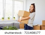 young woman moving into new... | Shutterstock . vector #721408177