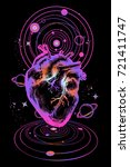 heart in space tattoo. anatomic ... | Shutterstock .eps vector #721411747