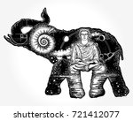 elephant tattoo art. symbol of... | Shutterstock .eps vector #721412077
