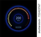 vector blue car speedometer....   Shutterstock .eps vector #721415767