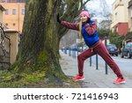 outdoor sport exercises  sporty ... | Shutterstock . vector #721416943